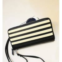 Fashion Women's Clutch Wallet With Color Block and Stripes Design Black/White