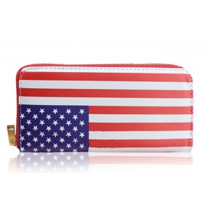 Fashion Women's Clutch Wallet With Flag Of The USA Pattern and Zipper Design