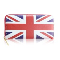 Fashion Women's Clutch Wallet With The Union Jack Pattern and Zipper Design