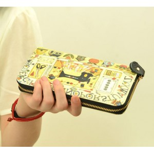 Fashion Women's Cluth Wallet With Print and Zipper Design