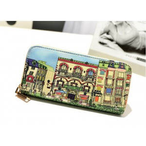 Fashion Women's Wallet With Floral Print and Zipper Design