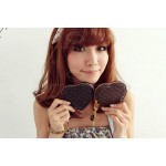 New Arrival Solid Color Knitting Heart Type Wallet For Women