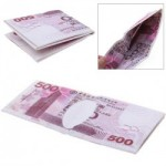 Novel Cute Foldable Neutral HK Banknote Wallet with 500 Value Pattern