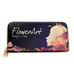 Pretty Women's Clutch Wallet With Floral Print and Zipper Design