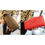 Simple Women's Cluth Wallet With Solid Color and PU Leather Design