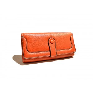 Simple Women's Cluth Wallet With Solid Color and Stitching Design