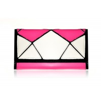 Stylish Women's Clutch Wallet With Geometric and Color Block Design