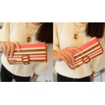 Stylish Women's Cluth Wallet With Stripes and PU Leather Design