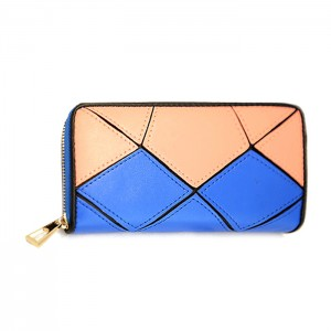 Trendy Women's Clutch Wallet With Color Block and Stone Pattern Design
