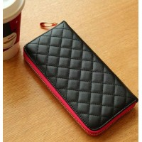 Trendy Women's Cluth Wallet With Color Block and Checked Design