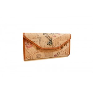 Vintage Style Women's Cluth Wallet With Print and Bear Design