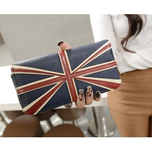 Vintage Women's Clutch Wallet With England Flag Pattern and Zipper Design