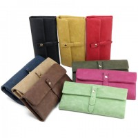 Vintage Women's Clutch Wallet With Solid Color and Suede Design