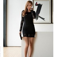 Women's Black Lace Slim Sexy Hollow Long Sleeve Dresses