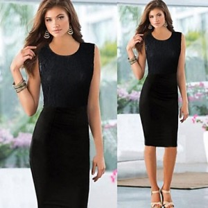 Women's Round Collar Solid Color Dress black
