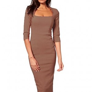 Women's Square Collar Solid Three Quarter Sleeve Sheath Pencil Midi Dress