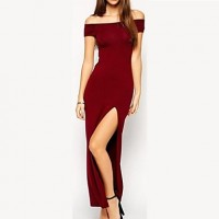 Sleeveless Cut Out Maxi Slit Dress wine red