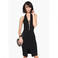 Sleeveless Knee Length Slit Dress black