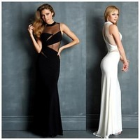 Sleeveless Mesh Front Maxi Dress Black White