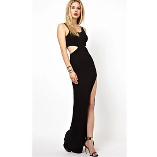 Sleeveless Slit Maxi Black Cut Out Dress (Sleeveless Slit Maxi ...