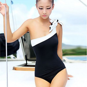 Women's Fashion One Shoulder Metal Ring One-piece Bow Swimwear