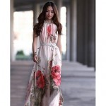 Women's Off The Shoulder Elegant Floral Print Waist Belt Swing Maxi Dress