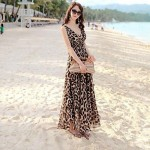 Women's V-neck Leopard Bohemia Ankle Length Chiffon Dresses