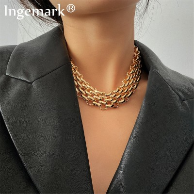 Exaggerated Unique Big Chunky Chain Choker Necklace Collar Steampunk Men Punk Twisted Lock Thick Iron Necklace for Women Jewelry