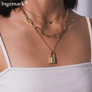 Ingemark Multi Layer Lover Lock Pendant Choker Necklace Steampunk Padlock Heart Chain Necklace Collier Best Couple Jewelry Gift