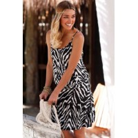 Black Trendy Print Summer Dress