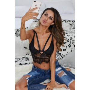 Down N Dirty Black Lace Harness Bralette