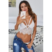 Down N Dirty White Lace Harness Bralette