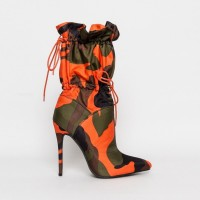 2019 Spring/Autumn New High Heels 11cm Stilettos Fashion Camouflage Ankle Boots Shoes Woman Lace Up Sexy Night Club Boots Chic
