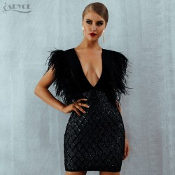ADYCE New Summer Feather Runway Bandage Dress Vestido Elegant Sexy Deep V-Neck Sleeveless Tank Celebrity Party Dress Clubwears