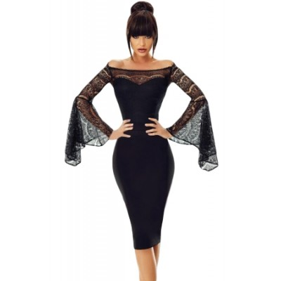 Black Lace Bell Sleeve Off Shoulder Bodycon Party Dress