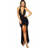 Black Shimmery Lace Halter Front Slit Party Dress
