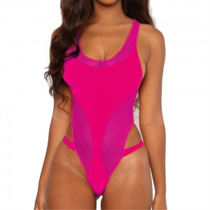 Neon Pink Orange Bodysuit One Piece Swimsuit 2020 Sexy Sport Monokini Push Up Padded High Cut Bathing Suit Women Swimwear S-L