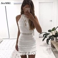 Vintage Hollow Out Lace Dress Women Elegant Sleeveless White Red