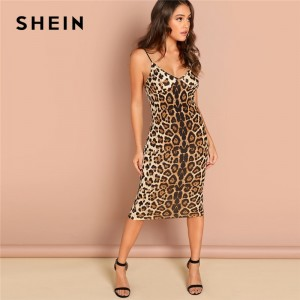 Backless Leopard Print Cami Sleeveless Pencil Skinny Club Dress