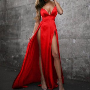 High-Split Maxi Sexy Women Solid Evening Champagne Red