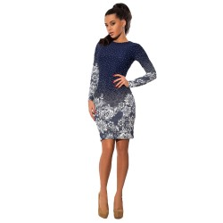 O Neck Polka Dot Floral Print Pencil Dress Long Sleeve Bodycon Mini Blue
