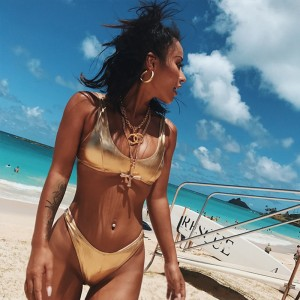 2018 New Sexy Bikinis Silver Golden Color Women Bandage Bikini Set Push-up Padded Bra Swimsuit Suit Swimwear Brazilian Bikini