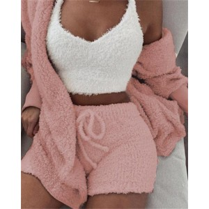 New Knitted Casual Women Two Piece Set Short Jumpsuit Winter Female Solid Tracksuit Women's Autumn Soft Warm Playsuit DA508