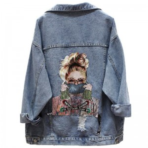 NEWDISCVY Back Letter Printed Denim Jacket 2019 Autumn Ripped Holes Jean Coat Patchwork BF Style Jeans Coats And Jackets