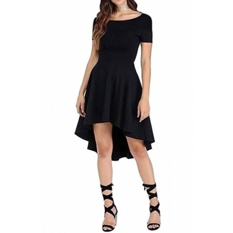 b46001314b4 Black Short Sleeve High Low Cocktail Skater Dress (Black Short ...