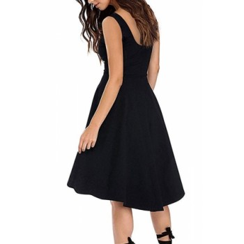 Black Sleeveless Boat Neck High Low Cocktail Skater Dress