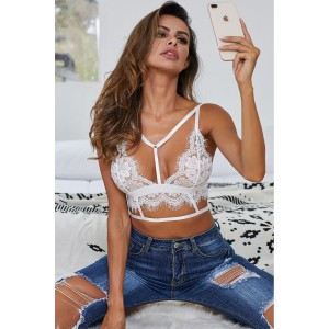 Black Eyelace Trim Lace Bralette White