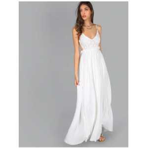 Lace Overlay Backless Pleated Maxi Dress White