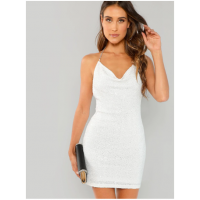 Open Back Glitter Sequin Halter Dress White