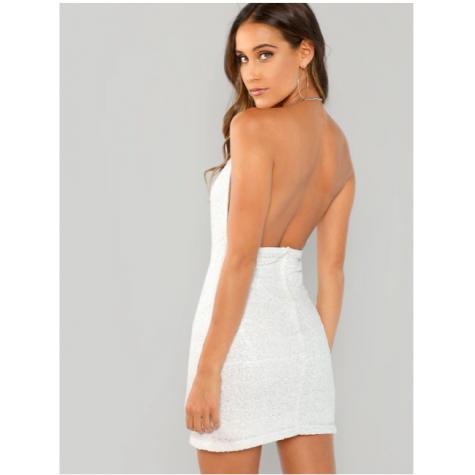 a887176c Open Back Glitter Sequin Halter Dress White (Open Back Glitter ...